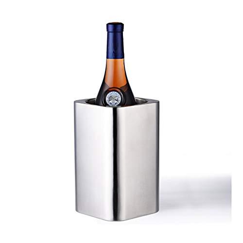 QIFFIY Cubo cuadrado cubo de hielo 304 acero inoxidable doble pared botella de vino enfriador cerveza enfriador champán enfriador cubo de hielo herramienta cubo de hielo