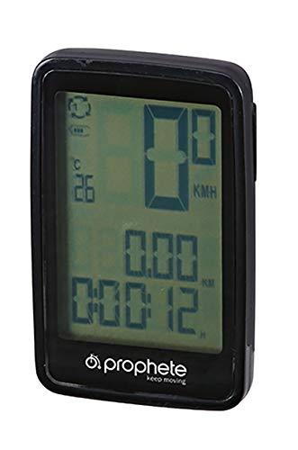 Prophete Unisex– Erwachsene Fahrrad-Computer, drahtlos, Li-ION-Akku mit USB Fahrradcomputer, schwarz, One Size