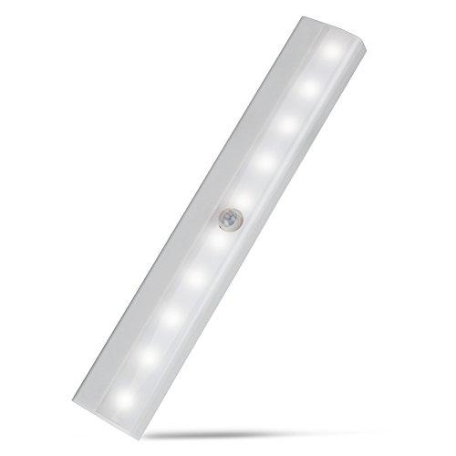 Barra Luminosa con Sensore di Movimento, 10 LED per Interni Senza fili, Striscia di Luci Notturne con 3 Adesivi Magnetici, per Armadio, Cucina, Armadio, Scale, Accensione/Spegnimento Automatico