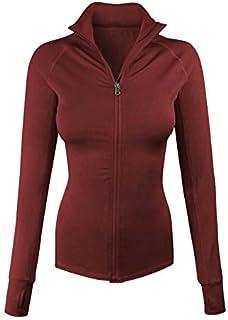 makeitmint Women's Comfy Zip Up Stretchy Work Out Track Jacket w/Back Pocket