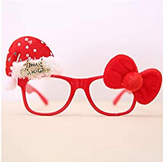 Pengcher Hat Christmas Ornaments Glasses Frames Evening Party Toy Xmas Gifts Decoration Without Lenses(Red)