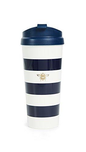 Kate Spade New York Insulated Thermal Travel Mug Tumbler, 16 Ounces, Navy Stripe (Bee)