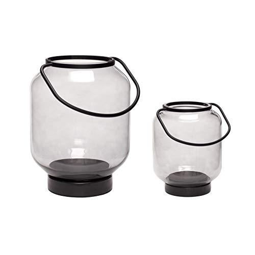 Hübsch® Laternen Set Glas Metall schwarz Rauchglas
