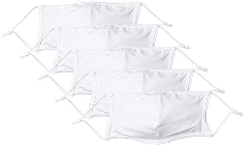 [エンジェルルナ] マスク 水着素材 水着生地 洗えるマスク 水着マスク 布 洗える mask ますく 5枚入り ホワイト 約37cm13cm (FREE サイズ)