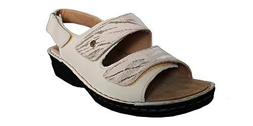Hergos H62 Sandalo Donna Bianco Plantare Estraibile Chiusura Doppio Strappo (Numeric_39)