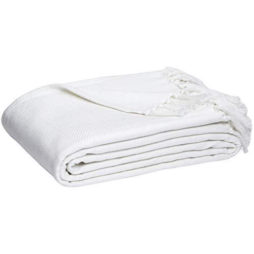 AmazonBasics - Coperta tessuta in cotone, Bianco, 220 x 240 cm