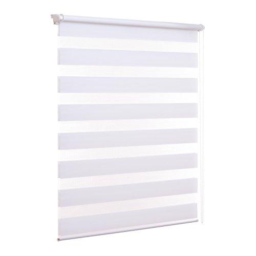 Ventanara Doppelrollo ohne Bohren Klemmfix Weiß Fenster Duo Rollo verspannt inklusive Klemmträger 40 x 150 cm