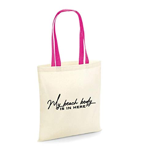 My Beach Body's in Here - Bolsa de playa, correas rosas, regalo para playa, vacaciones, bolsa divertida, eslogan, amante de la playa