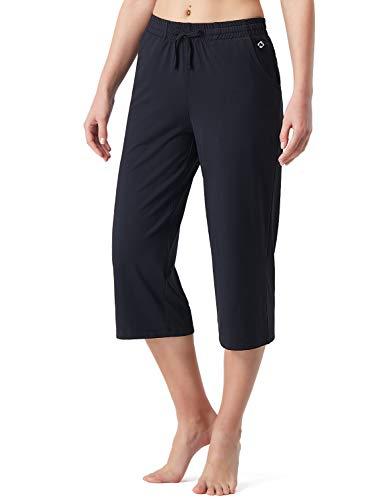 NAVISKIN 3/4 Damen Jogginghose leicht Culottehose atmungsaktiv Sporthose weich Trainingshose dehnbar Yogahose 2 Taschen Sommer Schwarz Größe M