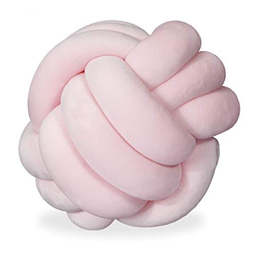 Relaxdays Cojín con Nudo Anudado para sofá, Cama, Decorativo, diseño escandinavo, diámetro de 25 cm, Color Rosa, 1 Unidad