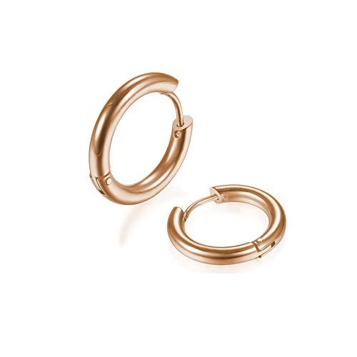 2Pcs 316L Surgical Stainless Steel Huggie Hoop Earrings 14mm Rose Gold Plating Hinged Cartilage Piercing Sleeper Earrings for Men Womens Sensitive Ears(Rose Gold 14mm)