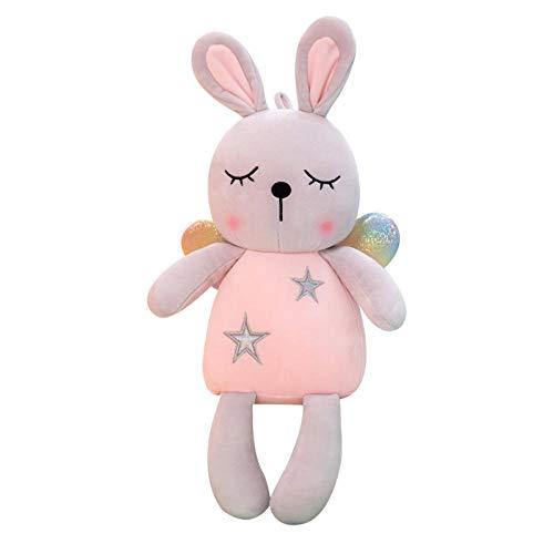 Pluche Konijn Knuffel Kinderkussen Kussen-Roze_65cm