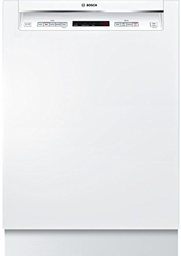 """Bosch SHEM63W52N 24"""" 300 Series Built In Full Console Dishwasher with 5 Wash Cycles, in White"""