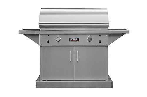 TEC Sterling Patio 2 FR Infrared Grill on Stainless Steel Pedestal Two Side Shelves (STPFR2LPCAB), Propane Gas
