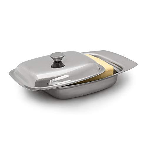 Relaxdays 10019113 Beurrier en Acier Inoxydable avec couvercle Argent 6 x 19.5 x 13 cm pour beurre 250 g ou fromage boîte à beurre argenté