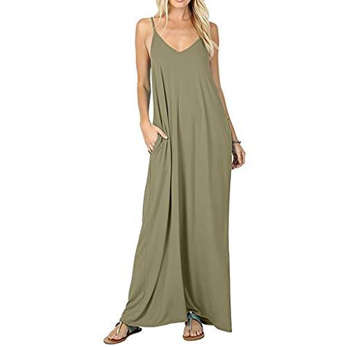 Wawer jurk dames model strandjurk zomer riempje jurk katoen V-hals explosies eenkleurig naden neckholder jurk lusjurk maxi-jurk avondparty jurk strandkleding Small legergroen