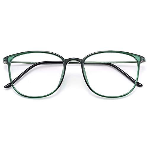 KOOSUFA Klassische Retro Brillengestelle Nerdbrille Herren Damen Dünne Brille Ohne Sehstärke Streberbrille Groß Pantobrille Ultra Licht TR90 Brillenfassung mit Etui (Grün)
