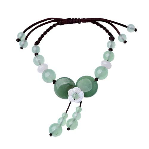 PAYNAN Pulsera ajustable de flor de jade natural de dongling joyería moda amuleto mujer brazalete