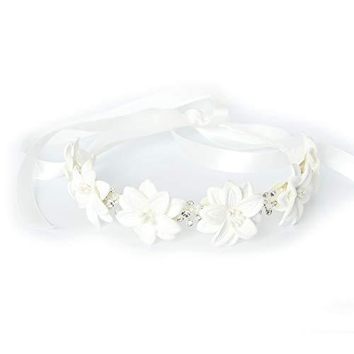 JUSTFOX - Luxus Haarreif mit Strass Kopfschmuck Kommunion Hochzeit Blumenkranz Weiß