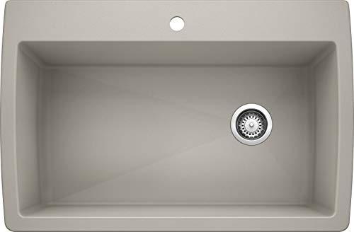 "BLANCO, Concrete Gray 442753 DIAMOND SILGRANIT Super Single Drop-In or Undermount Kitchen Sink, 33.5"" X 18.5"""