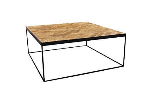 Meubletmoi salontafel, vierkant, teak, visgraatdecoratie en metalen onderstel – klassiek design Chic & Industriel – Anna/M