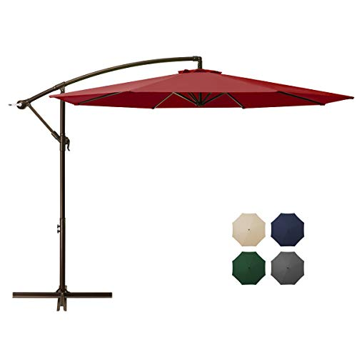 DOMICARE 10ft Offset Hanging Patio Umbrella with 8 Ribs, Outdoor Market Umbrella Easy Tilt Adjustment, Cantilever Umbrella for Backyard, Poolside, Lawn and Garden, Red