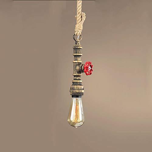 NBVCX Furnishing Decoration Chandeliers Retro Water Pipe Chandelier Hemp Rope Creative Art Ceiling Lamp Bar Aisle Restaurant E27 Pendant Lighting (Color : C)