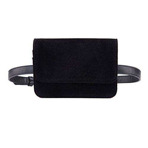 AiSi Damen Mode Hüfttasche, Kleine Modern Taillenbeutel, Leder Gürteltasche, Bauchtasche, Mini Handytasche mit Verstellbaren Riemen (Schwarz 1)