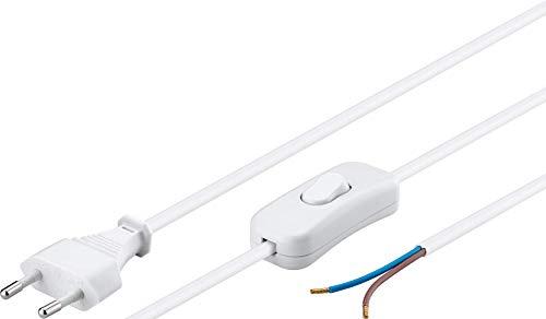 Goobay 51349 Euro Kabel zum Konfektionieren mit Schalter, 1.5 m, Weiß
