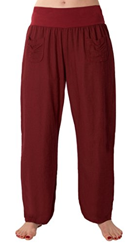 FASHION YOU WANT Damen Leinenhose Größe 36/38 bis Größe 50/52 aus 100% Leinen - leichte Sommerhose Tunnelbund mit Gummizug und 2 aufgesetzten Taschen vorne - weiter Schnitt (48/50, Bordeauxrot)