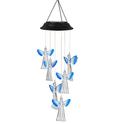 floatofly - Campanelle a vento a forma di angelo, a energia solare, in plastica, con LED a scambio di colore, per festival, cortile, decorazione da giardino, colore: blu