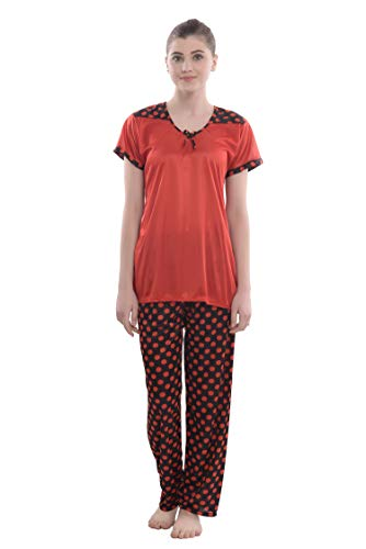 Ben Martin Women's V Neck Satin Night Suit Polka Print...