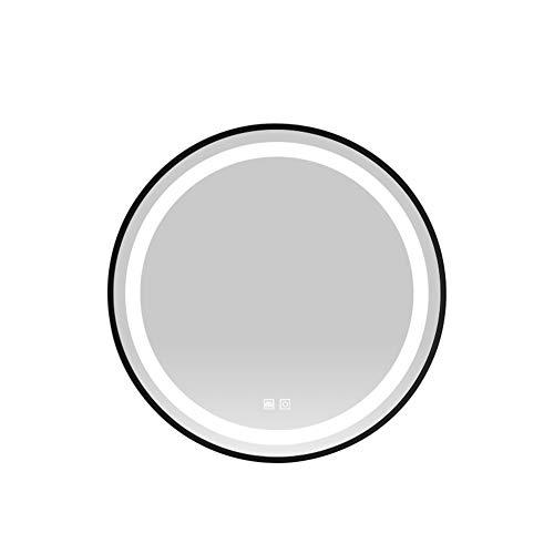 MFWallMirror IJzeren kunst rond, intelligente spiegel, led-lichtspiegel, badkamerspiegel, wandhouder, make-upspiegel, badkamerverlichting, anti-condens-spiegel