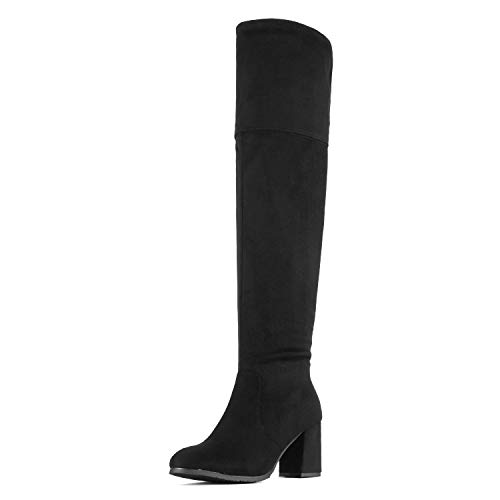 DREAM PAIRS Women's Stretch_High Black Thigh High Block Heel Over The Knee Boots Size 9.5 B(M) US