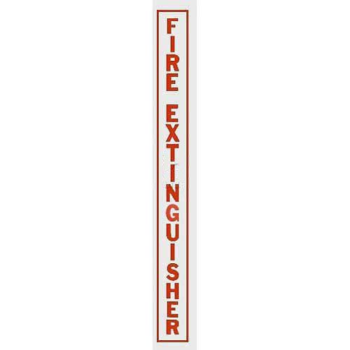 Vertical Decal Fire Extinguisher, Red Lettering On Clear Film