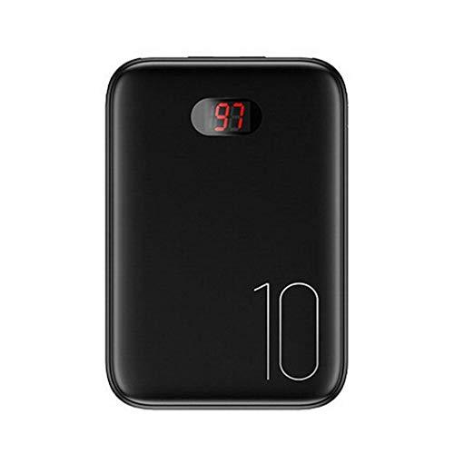 ETC KART 10000 mah Banco de la energía Externa mi ni Digital Banco de la batería portátil Cargador portátil Pantalla LCD con Fecha de Alambre para Xiaomi mi iPhone Samsung (Negra)