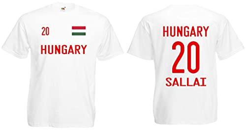 Ungarn-Hungary Sallai Herren T-Shirt EM 2020 Trikot Look Style Shirt 20 Weiß XXXL