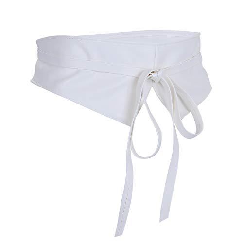 moonsix Faux Leather Waist Belts for Women, Wrap Around Boho Obi Style Cinch Waistband Belt White