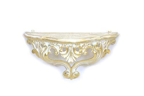 Idea Casa Mensola Consolle Bianco Oro Dorato Barocco Finto Vintage Stile Veneziano