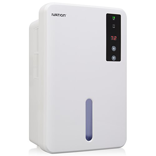 Ivation IVADM20 Powerful Small-Size Thermo-Electric Intelligent Dehumidifier w/Auto Humidistat - Quietly Gathers Up to 13.5oz. of Water per Day - Great for Bath, Laundry and Bed Room, Basement, Attic, Stored Boat, RV, Antique Car etc. - Water Tank Capacity: 51 ounces