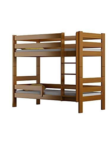 Children's Beds Home - Litera de madera maciza - Toby para niños y niños pequeños - Tamaño 160 x 80, color aliso, cajón sí, colchón de látex de alta resistencia de 12 cm