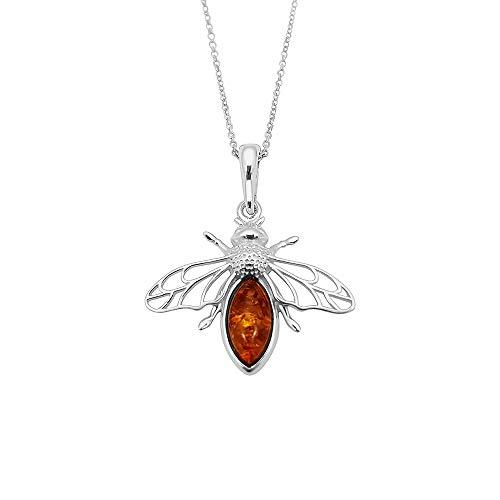 Kiara Jewellery - Collana con ciondolo a forma di ape volante in argento Sterling 925, incastonata in ambra baltica marrone, su catenina in argento sterling da 45,7 cm o catenina barbazzale.