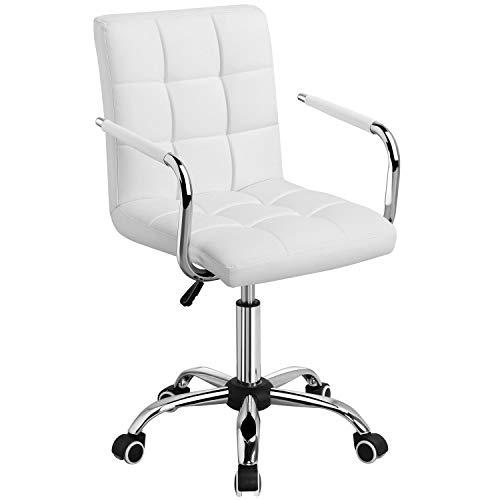 Yaheetech Bürostuhl Drehstuhl Schreibtischstuhl Drehocker Arbeitshocker, höhenverstellbar aus Kunstleder Weiß