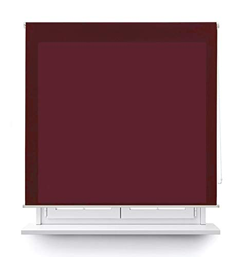 MERCURY TEXTIL Estor Enrollable translúcido Liso (Burdeos, 135x180cm)