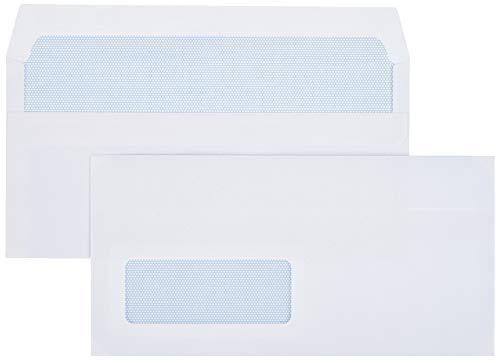 AmazonBasics Selbstklebende Briefumschläge, DIN L, Weiß, Fenster, 80 g/m², 1000 Stück
