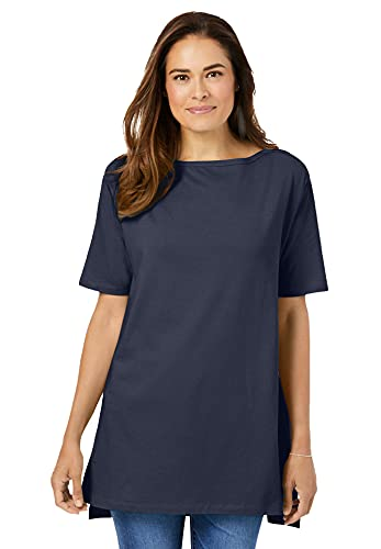 Woman Within Women's Plus Size Perfect Short-Sleeve Boat-Neck Tunic - 1X, Navy Blue