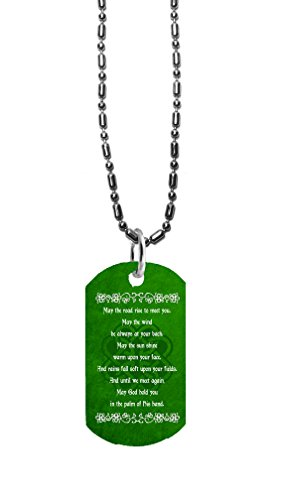 Hat Shark Irish Blessing Prayer May The Road Rise Up Green Celtic Knot - 3D Color Printed Military Dog Tag, Luggage Tag Pendant Metal Chain Necklace