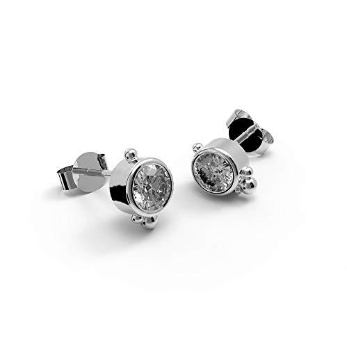 prettique Damen Ohrstecker aus 925 Sterlingsilber (rhodiniert) mit Zirkonia Stein – Rund – 0,5 Zentimeter Durchmesser – Ohrringe – Silber – Nickelfrei – Geschenk