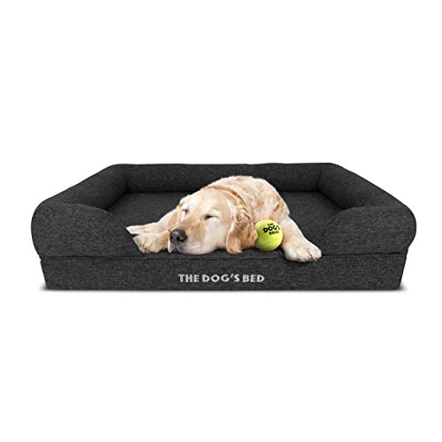 The Dog's Bed, Premium Orthopaedic Memory Foam Waterproof Dog Beds, Grey Poly-Linen, Eases Pet Arthritis & Hip Dysplasia Pain, Therapeutic & Supportive, Washable Quality Poly-Linen Fabric Cover