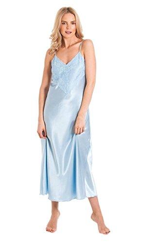 LO Damen Lang Satin Nachthemd Nachtkleid Tiefe Spitze Übergröße Nachtwäsche - Hellblau, Wx (14-16)